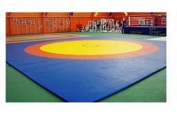 Борцовский ковер трехцветный 12 х 12 м с покрышкой, толщина