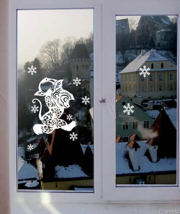 Наклейки виниловые новогодние на окна
