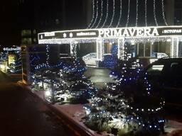 Новогоднее, праздничное оформление, зданий офисов, освещение