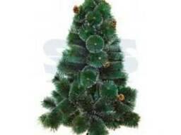 Новогодняя ель 120 см с 10 шишками и снегом, 90 веток