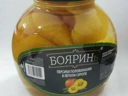 Персики половинки в легком сиропе с/б, ж/б
