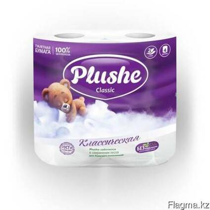 Plushe Classic белая с сиреневым (тиснением) 2 слоя,4 рулон