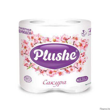 Plushe Deluxe Light - Сакура 3 слоя,4 рулона