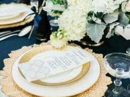 Подстановочные тарелки для декора свадьбы аренда Алматы