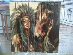 """Продаётся картина на дереве """"Скво и лошадь""""."""