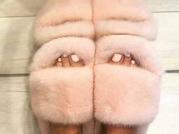 Пудровые тапочки из меха норки!