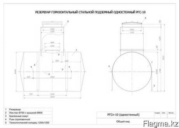 Резервуар горизонтальный стальной подземный (РГСП) 10м3