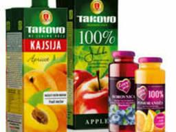 Соки фруктовые, содержание фруктов 50%, 100%