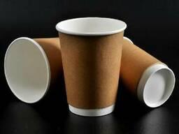 Стаканы бумажные одноразовые двухслойные Кофе Тайм, Крафт