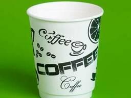 """Стаканы бумажные одноразовые с печатью """"Черный Кофе"""""""