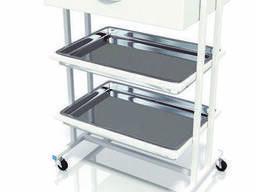 Столик хирургический с 1-м выдвижным ящиком и 3-мя поддонами