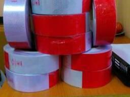 Светоотражающая лента красно-белая 5см 1М