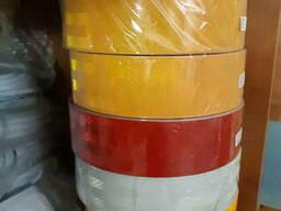 Светоотражающая лента желтая 5см*50м , красная, белая